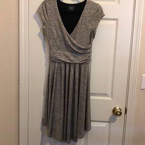 Maeve Anthropologie metallic silver dress